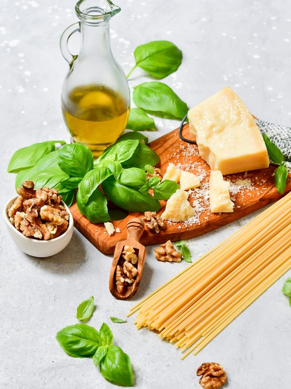 spaghetti pasta pesto Italy food. ingredients for traditional It